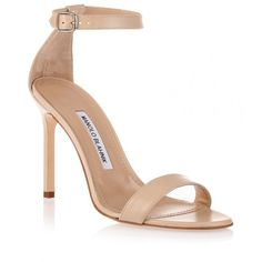 Manolo Blahnik Chaos nude leather sandal ($459) ❤ liked on Polyvore featuring shoes, sandals, heels, beige, manolo blahnik sandals, leather sandals, nude shoes, beige shoes and ankle strap heel sandals