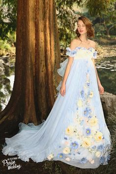 This garden-inspired off shoulder baby blue x yellow gown by TIGLILY is so sweet and chic!