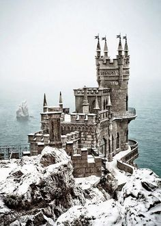 The Most Stunning Fairytale Castles of Europe (The Swallow's Nest Castle, Ukraine). My Castle Hunters can help you find the castle/home of your dreams! Places Around The World, Oh The Places You'll Go, Places To Travel, Places To Visit, Around The Worlds, Travel Destinations, Winter Destinations, Travel Stuff, Beautiful Castles