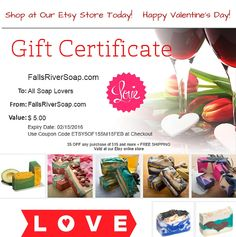 Looking for natural and organic Valentine's Day gifts for the loved ones in your life? Everyone loves our beautiful organic handmade artisanal soaps. Shop at our Etsy store today and get $5 OFF any purchase of $15 and more + FREE SHIPPING Offer is Valid until Feb 15, 2016 https://www.etsy.com/shop/FallsRiverSoap #love #gifts #valentine'sday #organic #handmadesoap