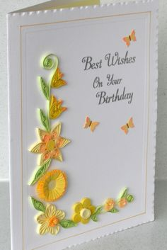 Paper quilling birthday card on Etsy