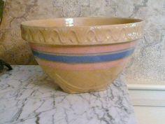 Vintage Pink Blue Stripe Yellow Ware Stoneware Large Mixing Bowl Piecrust Edge