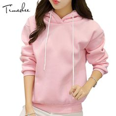 b96913fe6c07 Hoodies Women 2017 Timechee Casual Brief Loose Solid Color Thick Tie Collar Long  Sleeve Teen Girls Pullovers LYY0103-in Hoodies   Sweatshirts from Women s  ...
