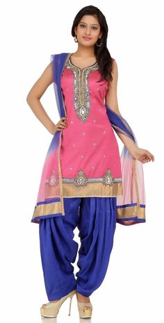 blue and pink color punjabi party wear suit 2014