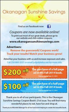 Okanagan Sunshine Savings Fall Advertiser Specials!