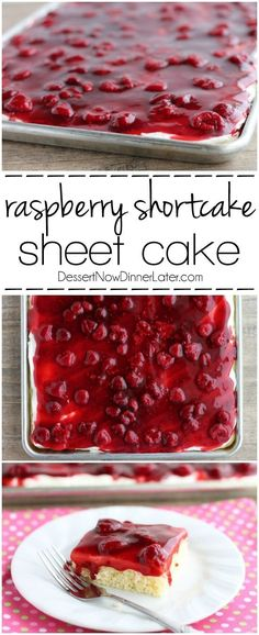 This EASY and delicious Raspberry Shortcake Sheet Cake is layered with light, fluffy white cake, topped with whipped cream cheese frosting and a fresh raspberry glaze! Perfect for parties, potlucks, or a Valentine's Day dessert! on http://MyRecipeMagic.com