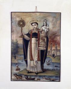 'San Jacinto Yaguachi', obra de arte popular de Ecuador, elaborada en óleo sobre holajata en el siglo XIX