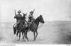Portrait of two unidentified members of A Squadron, Light Horse Regiment, holding their rifles while on horseback in the desert near their camp in the Cairo area, Maadi, Egypt April 1915 Erwin Rommel, Cairo Egypt, World War I, Armed Forces, Warfare, Love Art, Camel, Lee Enfield, War Horses
