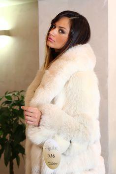 sexy model in white fur gorgeous