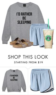 """""""Basically"""" by flroasburn ❤ liked on Polyvore featuring NIKE and Birkenstock"""