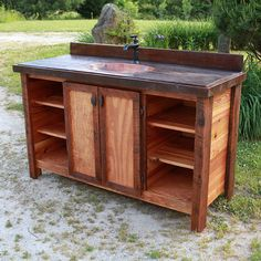 Heart Pine and Antique Wood Rustic Barnwood Vanity with Copper Sink #rusticvanity from #logfurnitureplace