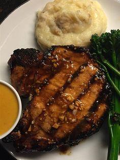 Grilled Mongolian Pork Chops | Allrecipes Round Eye Steak Recipes, Pork Rib Recipes, Grilling Recipes, Cooking Recipes, Qinuoa Recipes, Recipies, Summer Recipes, Round Steak, Round Roast