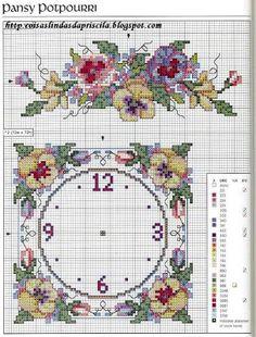 Pansy clock and motif - free cross stitch pattern