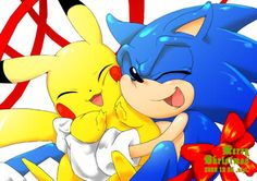 Sonic And pikachu cute <3