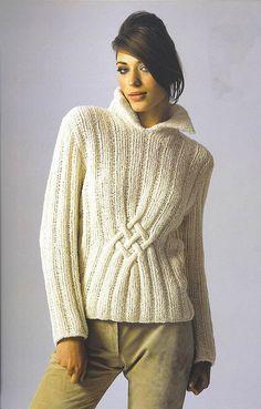 Suéter de cuello alto de mano de punto de las mujeres a la