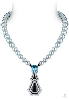 A bewitching soft grey Burmese sapphire arrests the flow of grey Tahitian pearls, its symmetry echoed in two onyx drops fringed with diamonds, in this Louis Vuitton Acte V/The Escape Long Island high jewellery necklace.