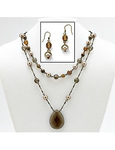 Brown Glass Jewelry Set by PalmBeach Jewelry
