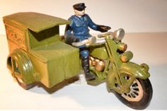 Cast Iron Toy Motorcycle Parcel Post Mail by TheVintageChicPlace,