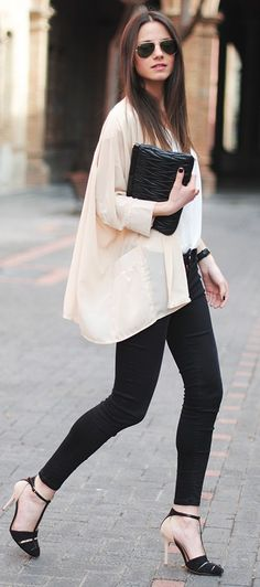 Kimono top + skinny jeans