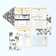 Cream & Gold Wedding Invitation by Pretty Together featuring a Vintage Botanical Print.