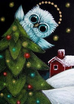 HOLIDAY ANGEL OWL AT THE CHRISTMAS TREE   YOUR ANGEL
