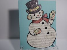 Shimmery Snowman Christmas Card by TheCraftieOne on Etsy