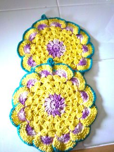 Vintage Purple Yellow Pot Holder Crocheted Trivet by bonnierose.i love my vintage potholders. Vintage Potholders, Crochet Potholders, Crochet Cushions, Crochet Dishcloths, Crochet Coaster, Crochet Geek, Crochet Yarn, Unique Crochet, Love Crochet