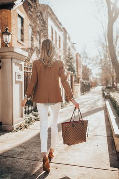 Regent Blazer (J.Crew Factory version in camel here! Similar available in camel here and here, and love this camel sweater blazer and this classic camel blazer from Ann Taylor.) / Striped Floral Top (Love this version, too.) / Similar Woven Belt / Tory Burch Wedges (Similar here, here, here and here.) / Rag & Bone Skinny Jeans (And adore this pair.) / Kate Spade Initial Necklace / Louis Vuitton Neverfull Tote MM