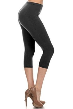 Leggings Depot Womens Popular BASIC CAPRI CROPPED SOLID HIGH WAIST LEGGINGS Black ** Find out more about the great product at the image link.(This is an Amazon affiliate link and I receive a commission for the sales)