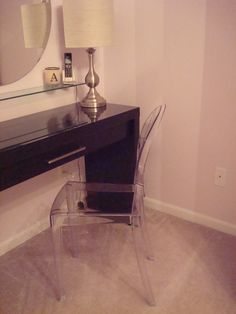 Vanity Desk with Ghost Chair