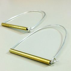 Sterling Silver w/ Brass Tube Hoop Earrings by bunnyconedesigns