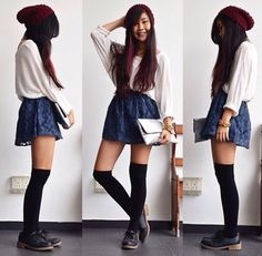 long sleeves hipster style shoes socks long socks knee high socks blouse blue skirt skirt fashion floral skirt lace up lace beige sweater pullover beanie hipster skirt hipster sweater tumblr outfit outfit tumblr sweater tumblr shoes tumblr skirt tumblr girly urban chic clothes beautymanifesto
