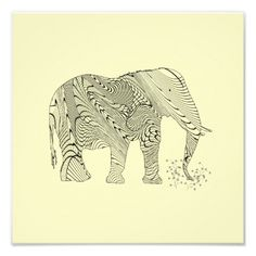 Elephant ZenTangle Pattern Art Print Poster