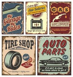 Vintage car metal signs and posters — Stock Illustration #15083803