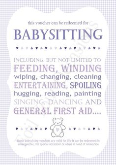 picture relating to Babysitting Coupon Printable titled Choice of Printable Babysitting Coupon (55)