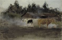 Artwork by Eero Järnefelt, Cows in Turf Smoke, study, Made of Oil on canvas