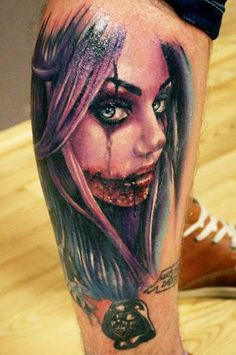 Young terrible santa muerte girl tattoo on leg
