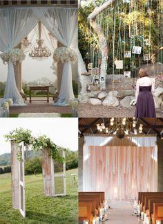 strips of fabric backdrop | ... Designs , & Fabric strip alter backdrop via Martha Stewart Weddings
