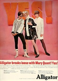 Mod vintage 60s advertisement for Alligator Mary Quant raincoats.