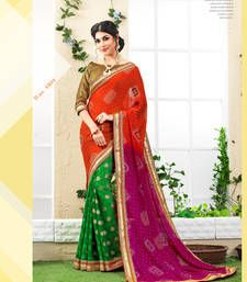 Buy multicolor printed georgette saree with blouse bandhani-sarees-bandhej online