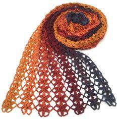 lovely crochet scarf using oana's lion's foot pattern in strips Crochet Shawls And Wraps, Crochet Poncho, Knitted Shawls, Crochet Scarves, Lace Knitting, Diy Crochet, Crochet Clothes, Crochet Stitches, Crochet Hats