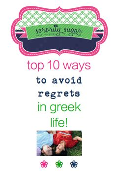 Regrets can come from things you didn't do and from things you did and then wish you hadn't. Avoid both types of regrets by making wise choices throughout your greek years. With some thoughtfulness, you can sidestep many sorority pitfalls! Make your sorority days the happiest of days with these top tips from sorority sugar! <3 BLOG LINK: http://sororitysugar.tumblr.com/post/137112607559/be-sorority-regret-free#notes