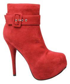 Look at this #zulilyfind! Red Buckle Stella Bootie #zulilyfinds