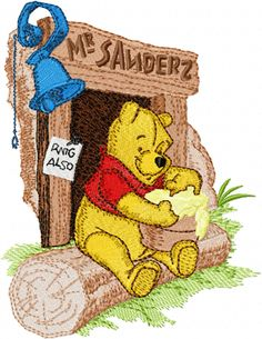 Winnie Pooh and honey machine embroidery design