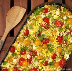 Israeli Couscous & Orzo Salad w/ Fresh Mozzarella, Corn & Cherry Tomatoes