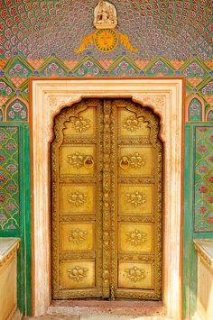 Golden door - City Palace in Jaipur, India Portal, Entrance Doors, Doorway, Grand Entrance, When One Door Closes, Door Gate, Unique Doors, Door Knockers, Architectural Elements