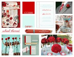 Mood board for our aqua and red school themed wedding
