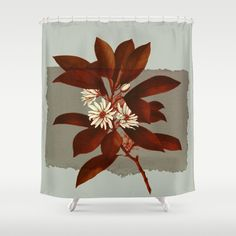 Branch And Flowers On Grey Paper Shower Curtain