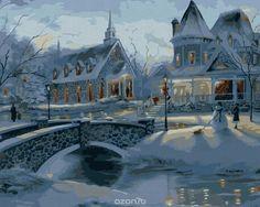 by Thomas Kinkade Christmas Scenes, Winter Christmas, Christmas Home, Vintage Christmas, Winter Snow, Victorian Christmas, Merry Christmas, Christmas Posters, Xmas Holidays