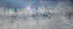 """Frosty Window Distant Sun by Hanne Lore Koehler """"I composed this frosty window scene by combining two of my watercolor paintings. Beginning with the original painting called FROSTY FOREST VALLEY, the first image in this 5-day series, I added layers of another painting called FOREVER FERNS and applied some digital manipulation to produce the frosty window effect. Then I added the distant sun effect to complete this winter window scene. """"  watercolor painting and digital"""